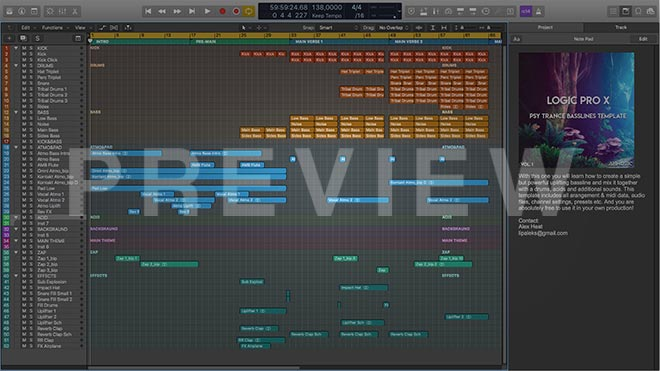 Psy Trance Basslines Logic Pro X Template Vol.1