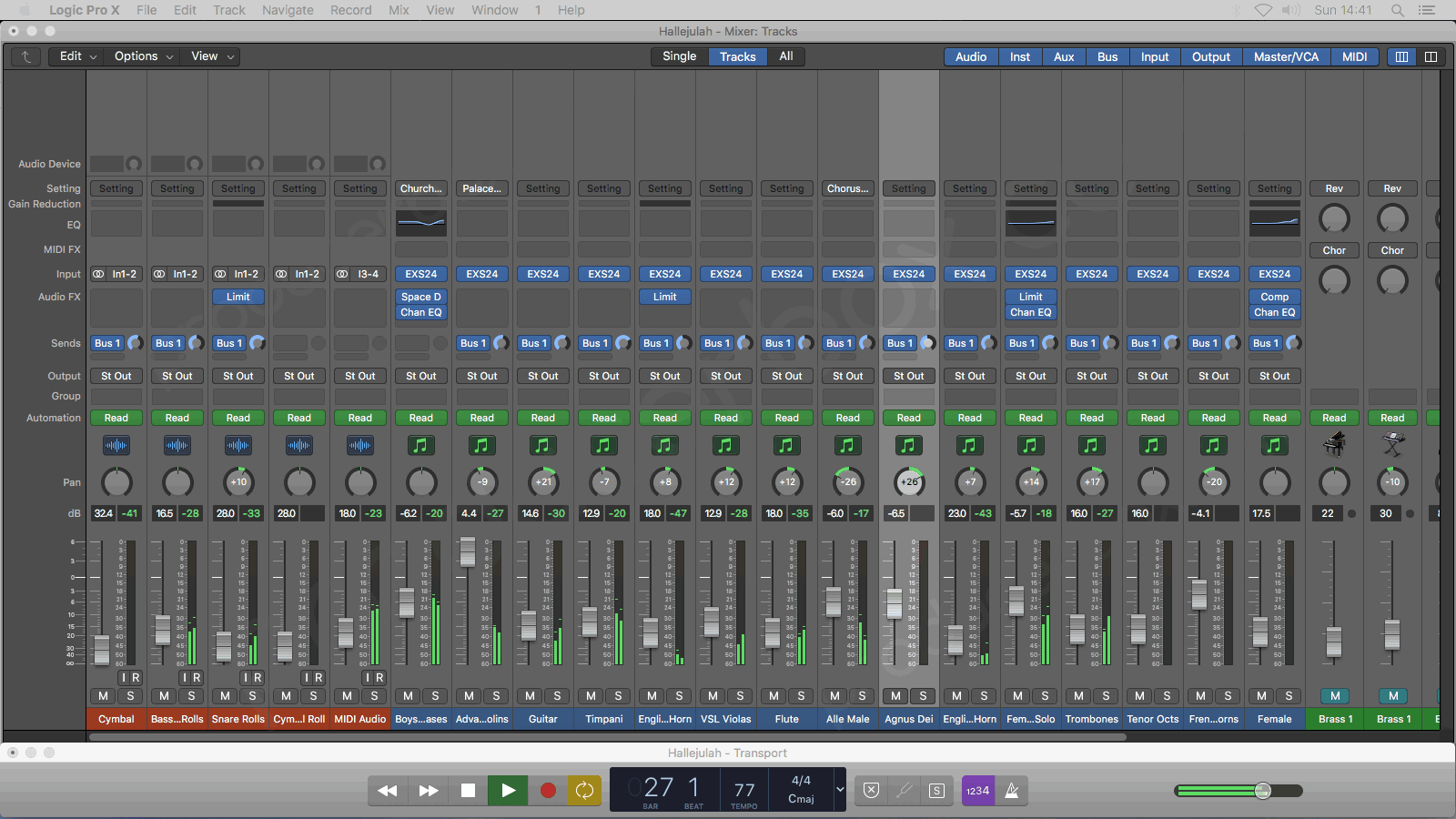 Logic Pro X Mixer Window - Allelujah