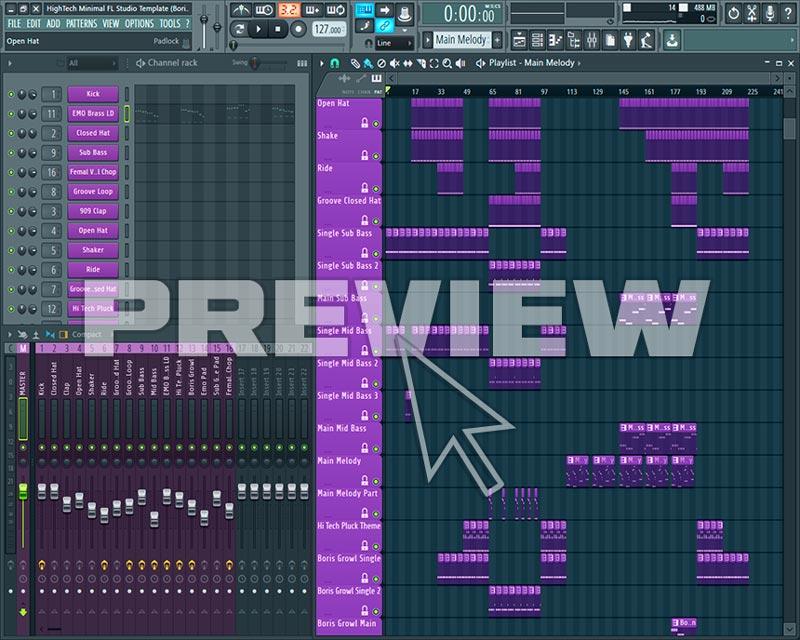 Screenshot Of High Tech Minimal FL Studio Template (Boris Brejcha Style)