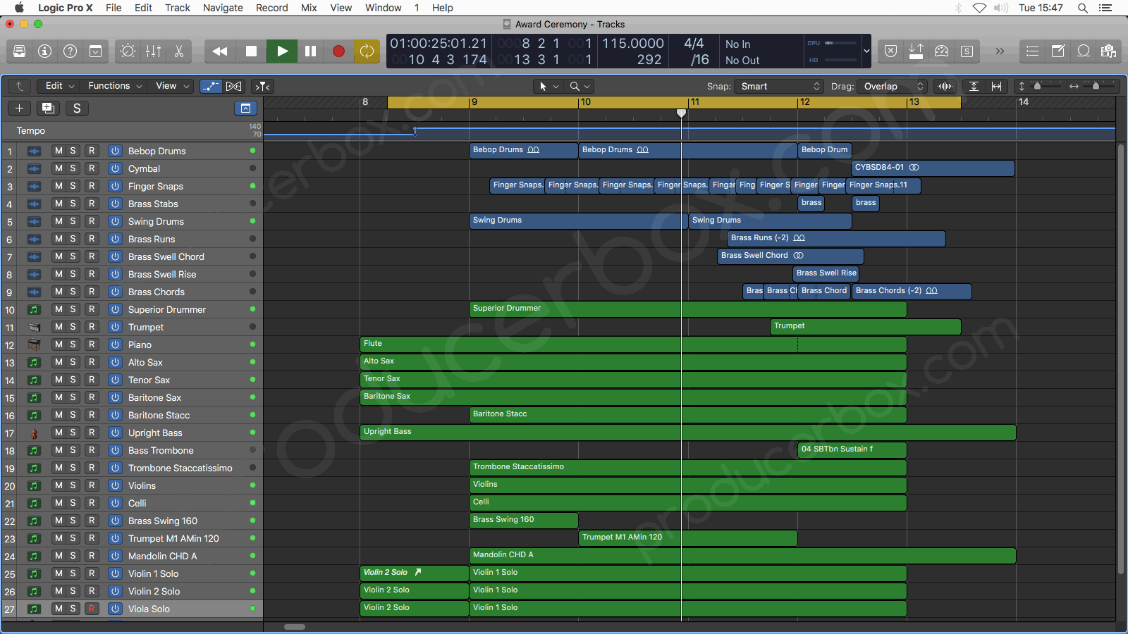 Logic Pro X Arrangement Screenshot