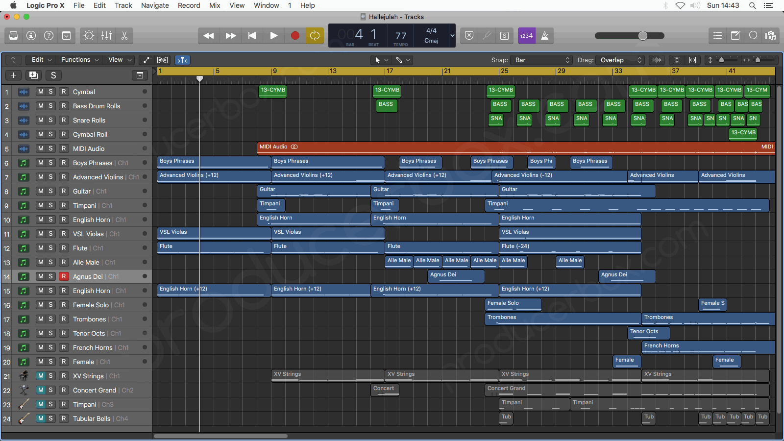 Logic Pro Arrangement Window Screenshot